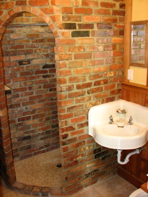 Using Reclaimed Bricks From Basement In Shower Will Need To Be Halved And Sealed But Much Better Than Introduci Brick Bathroom House Bathroom Reclaimed Brick