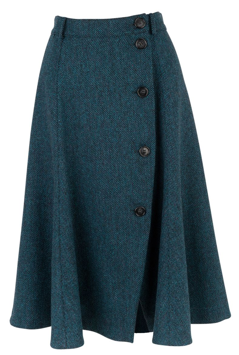 Tweed Button Through Skirt - Women's Skirts | Brora