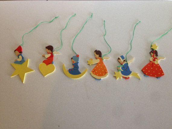 German Wooden Angel Christmas Ornaments Vintage 1960s Package Of