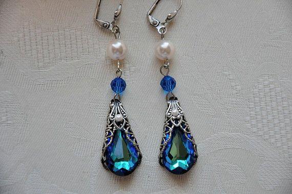 Bridal EarringsSwarovski Crystal BERMUDA BLUE by cynthiacouture, $79.00