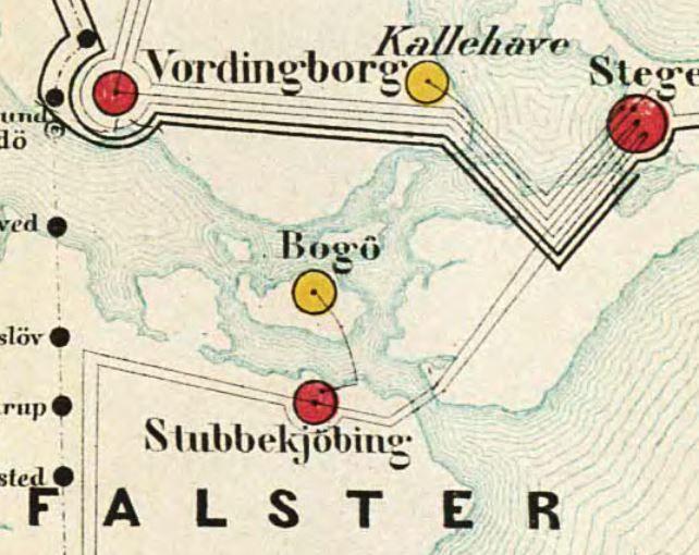 Kort Fra 1877 Over Danske Telegraflinjer Den Gule Signatur For
