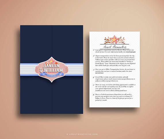 Invitation de passeport, or de rose, coquillages et étoiles de mer, plage destination de mariage Invite Suite, Custom Travel Inspiré Booklet Invite