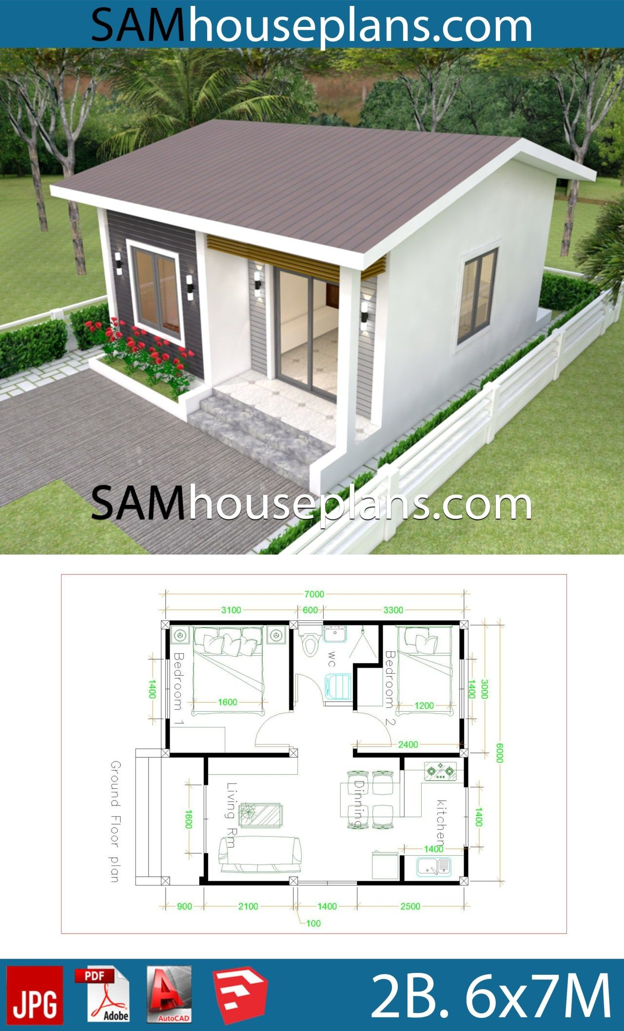 House Plans 6x7m With 2 Bedrooms Sam House Plans Little House Plans Small House Design Plans Two Bedroom House