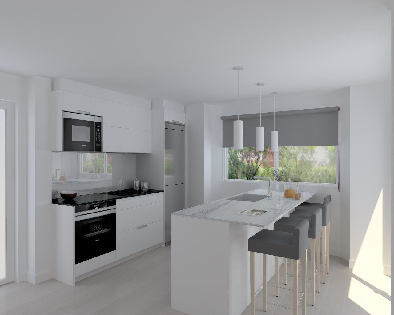 Cocina santos modelo minos laminado blanco encimera for Encimera de cocina lacada en blanco negro