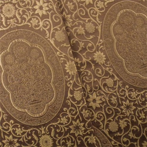 Umber Brown Antique Silk Jacquard Home Decorating Fabric, Fabric By ...