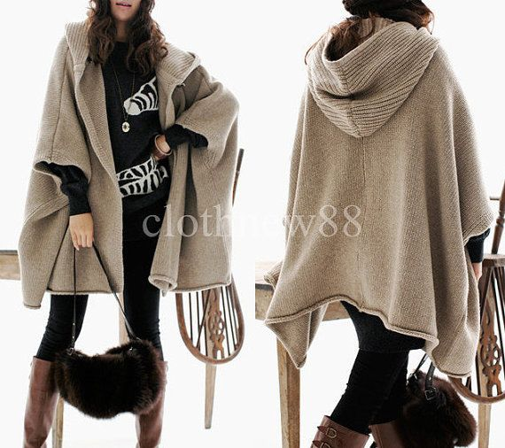 knit sweater mit kapuze wolle cape mantel herbst winter. Black Bedroom Furniture Sets. Home Design Ideas