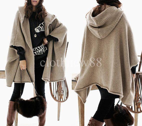 knit sweater mit kapuze wolle cape mantel herbst winter  damen jacken capes ponchos c 1_6 #1