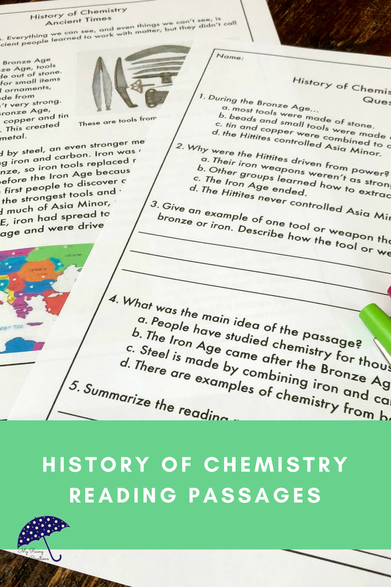 - Introduction To Chemistry: Ancient Times Reading Passage Reading