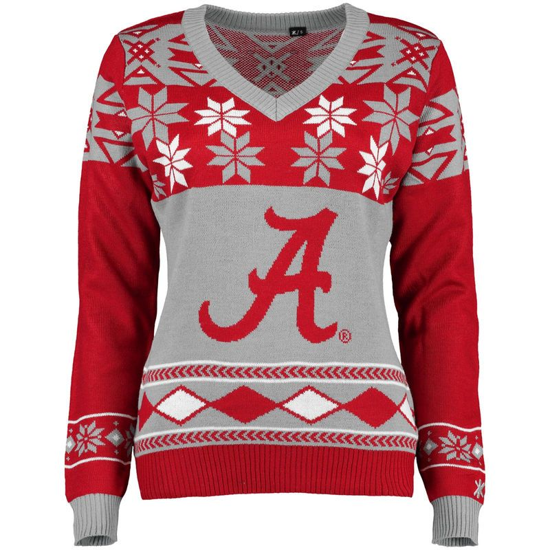 Alabama Crimson Tide Klew Women's Ugly Christmas V-Neck Sweater - Crimson