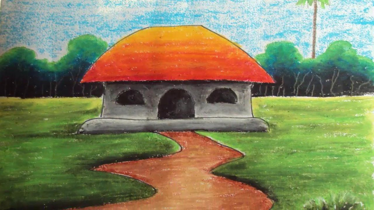 How to Draw a Village Landscape with Oil Pastels | Episode-4 ...
