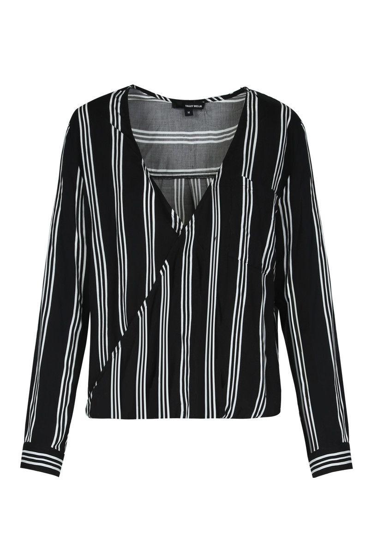 Black & White Wrap Blouse TALLY WEiJL | Office work style ...