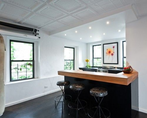 tin ceiling and kitchen counter