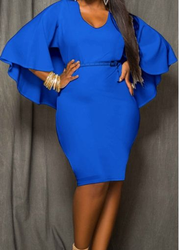 56867c6c6b9 Plus Royal Blue Cutout Back Long Sleeve Cloak Dress