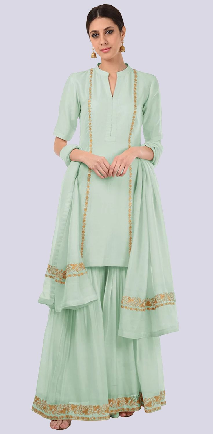 45721dc586 Sage Green Gold Tilla Embroidered Fine 120 Count Cotton Gharara Suit ...