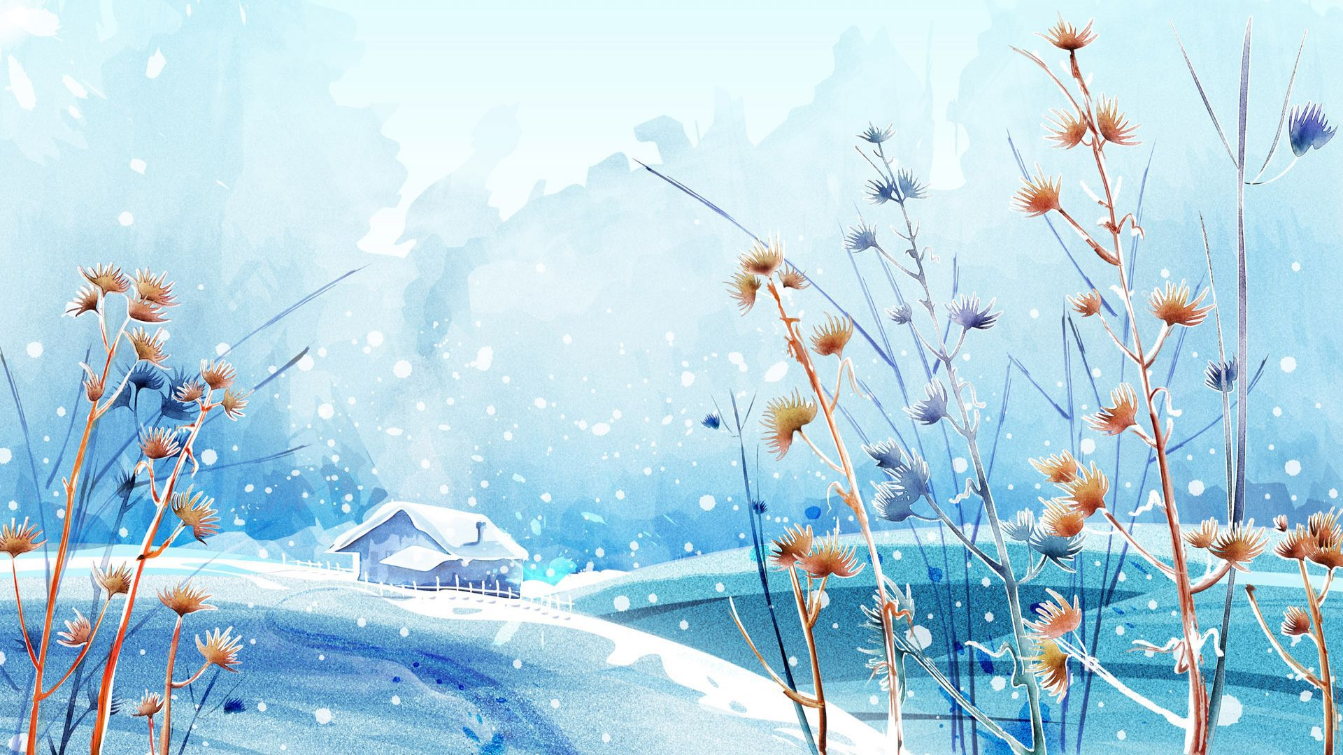 Nature Anime winter Scenery Background Wallpaper