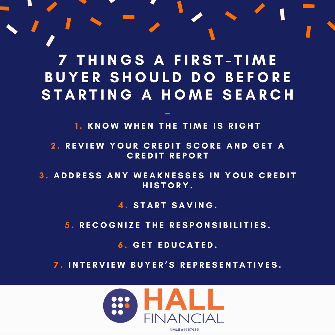 7 Things A First Time Home Buyer Should Do Before Starting A Home Search Nmls 1467435 In 2020 First Time Home Buyers Home Refinance Get Educated