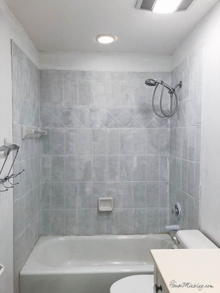 Diy Painted Coral Ombre Shower Tile Bathroom Tiles Images Painting Bathroom Tile Bathroom