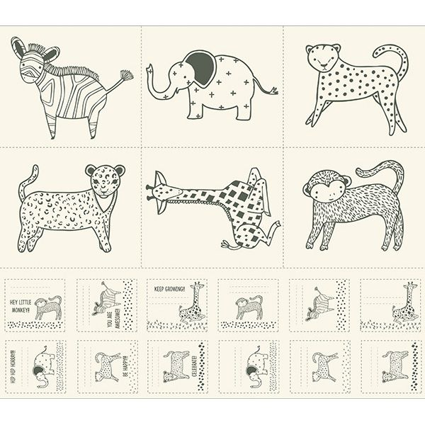 Sold Per Panel Moda Fabric Savannah Little Critter Fabric Panel Black