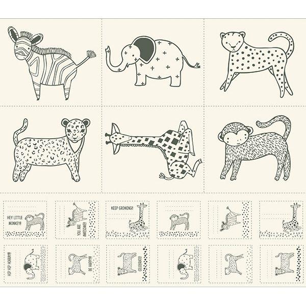 Sold Per Panel Moda Fabric Savannah Critters Galore Fabric Panel Multi
