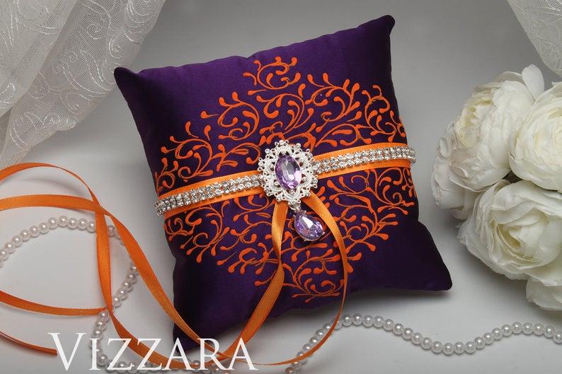 Ring pillows Purple weddings Wedding ring pillow Purple and orange wedding Pillow ring Orange and purple wedding