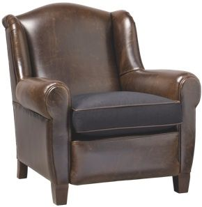Armchair Manchester leather and fabric