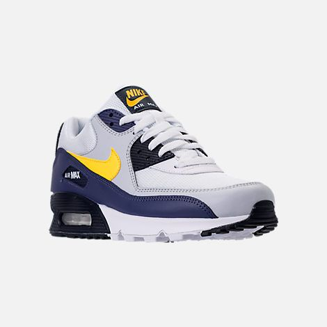 official photos 62b0c f1877 Three Quarter view of Men s Nike Air Max 90 Essential Casual Shoes in White Tour  Yellow Blue Recall