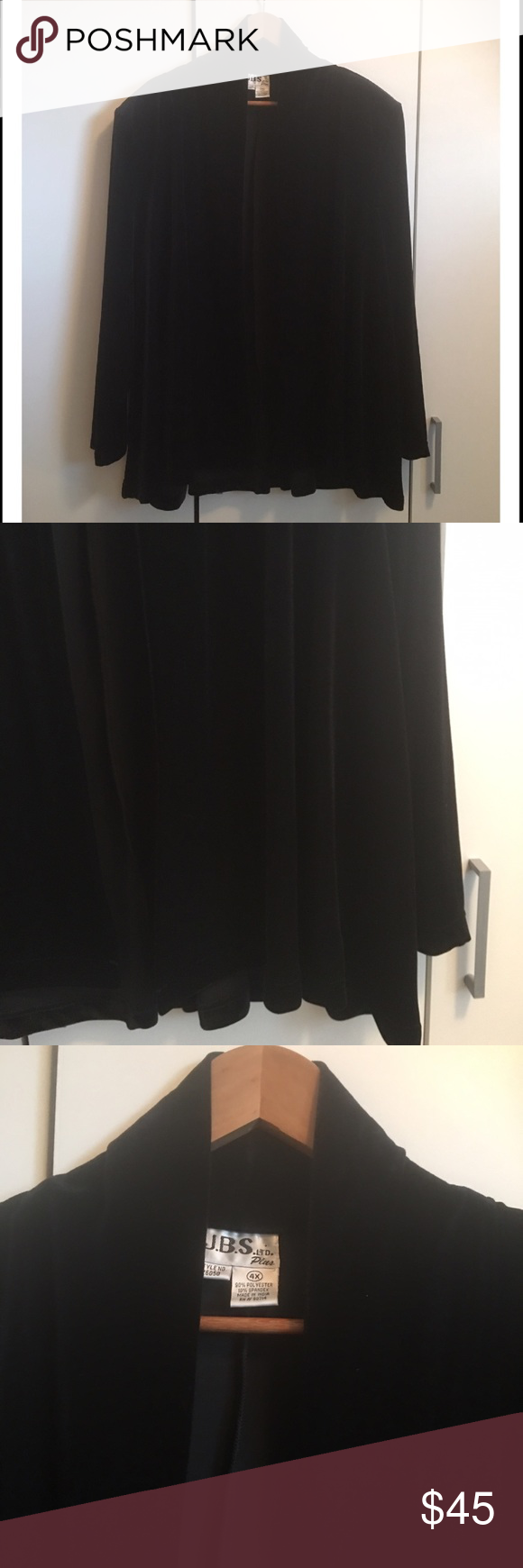 """J.B.S Plus Black Velvet Drape Front Jacket J.B.S Plus Black Velvet Drape Front Jacket. Absolutely stunning! Great condition! Perfect as a holiday cover up. Can be dressed up or down. Polyester/Spandex blend. Size indicates 4X but can be worn by a size 2X to 4X. Velvet is back with a vengeance this season. Grab this beauty before it's gone! Length 29"""". J.B.S Plus Jackets & Coats Blazers"""