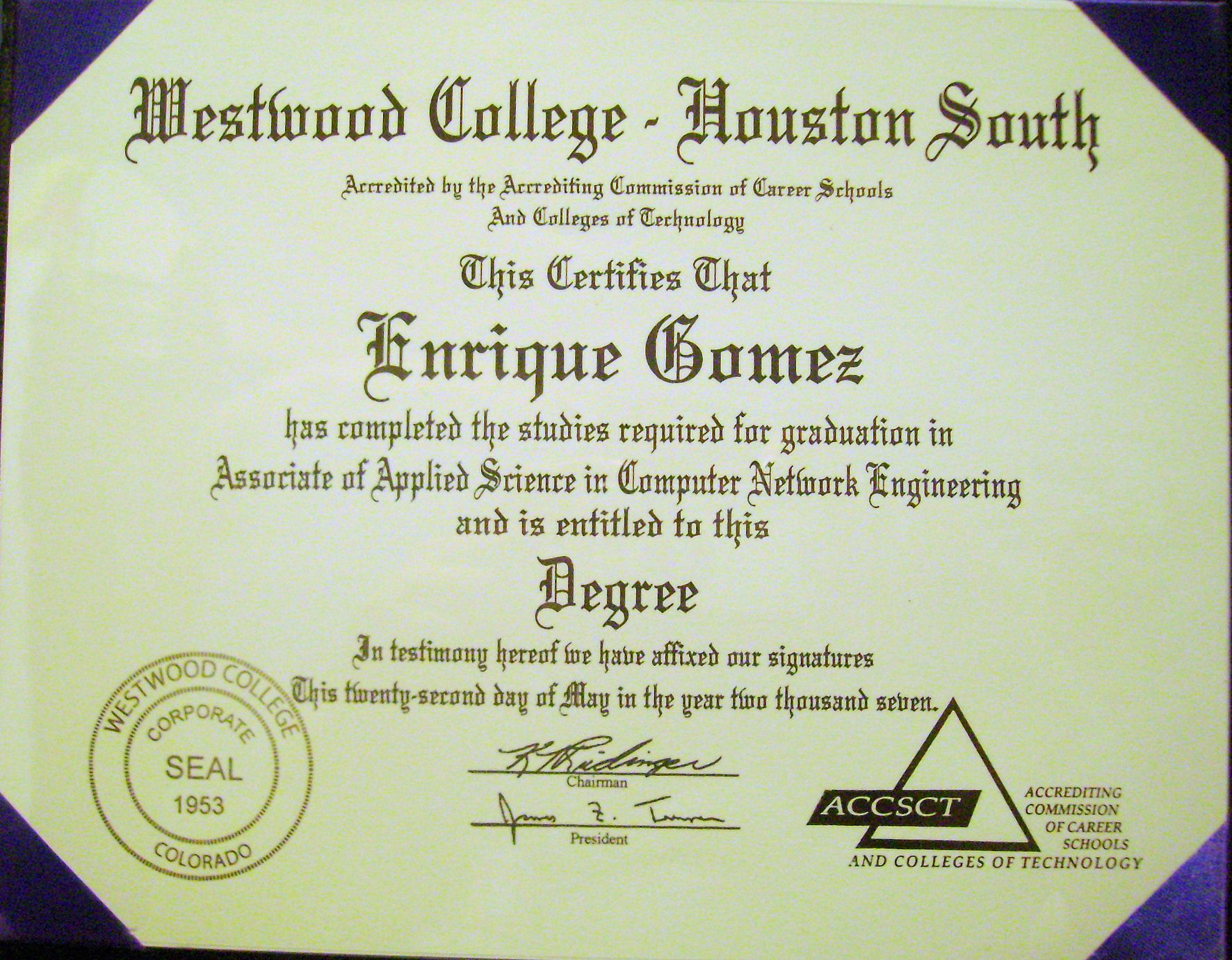 my associate degree in computer network engineering from