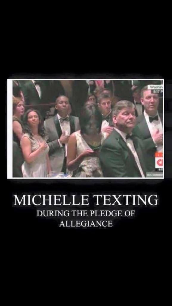 @directaudrey @EvelynGarone @SeagovilleHigh WTF check this pic out. First Lady texting during Pledge of Allegiance