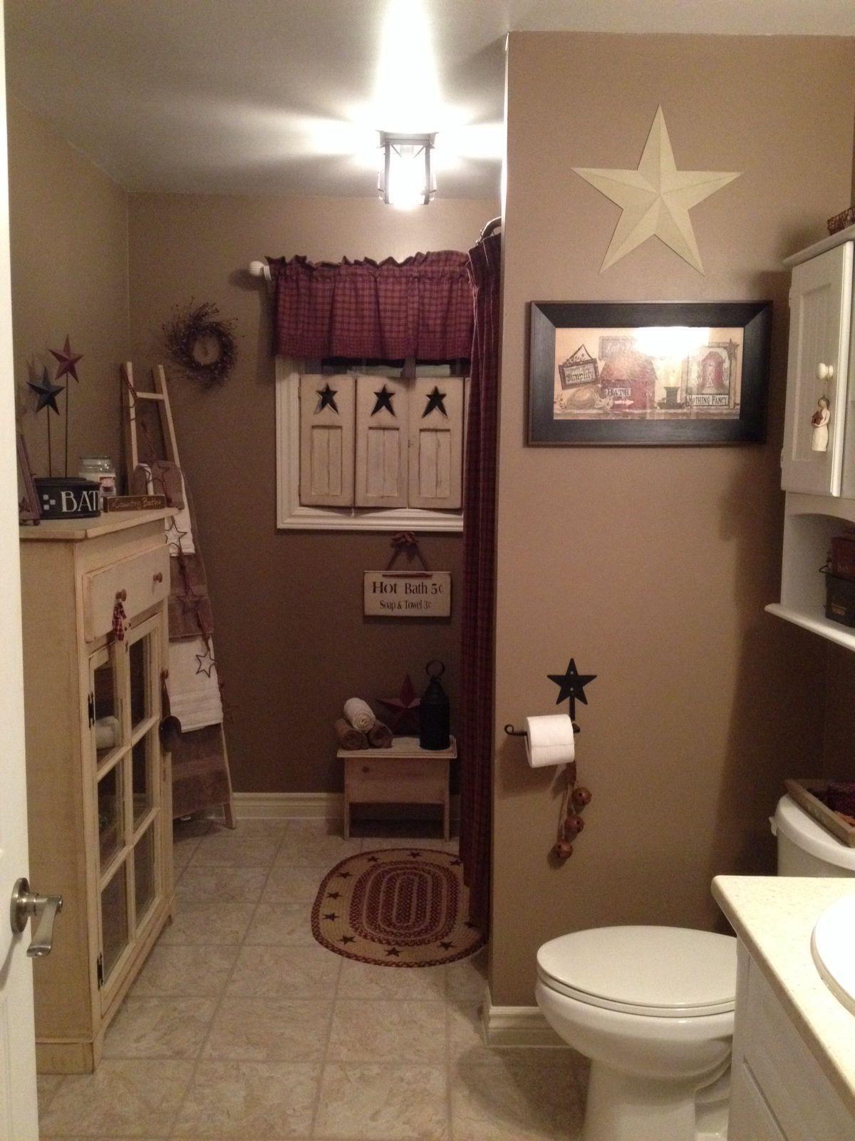 Primitive bathroom  Home decor  Decorating  Rustic  Country