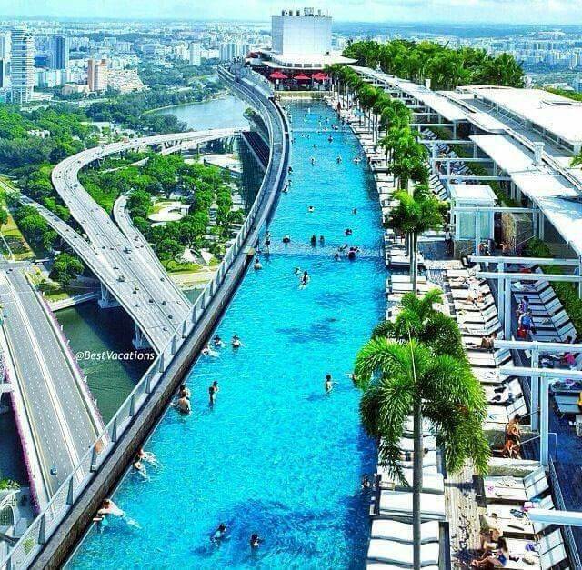 Marina bay sands singapore hotel with infinity pool and - Marina bay sands piscina ...