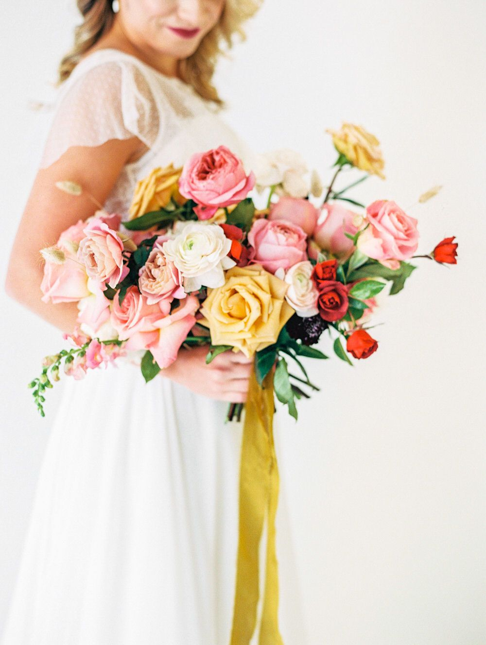 Juicy Floral Inspiration with Roses and Pops of Mustard and Red