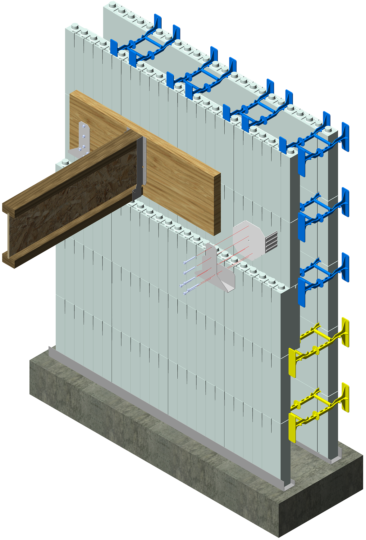 Icf floor ledger attachment simpson icfvl attach ledger for Foam block wall construction