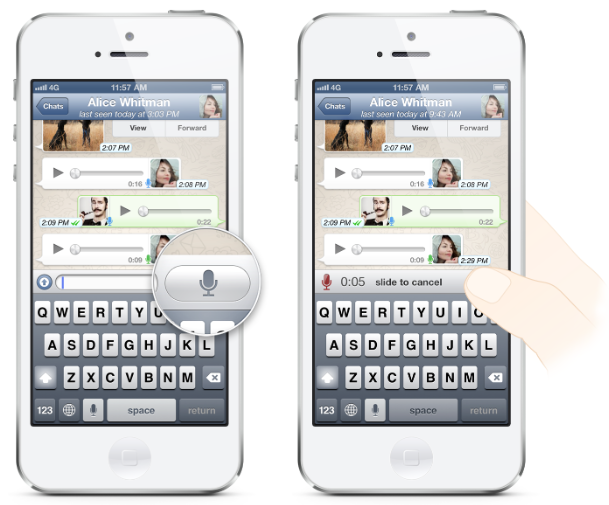 Whatsapp adds easy to use pushtotalk voice messaging