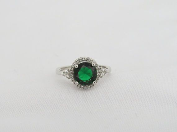 Vintage Sterling Silver Emerald & White Topaz by wandajewelry2013