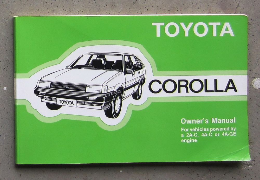 TOYOTA COROLLA 1987 Auto Owners User Operation Manual Handbook - operation manual