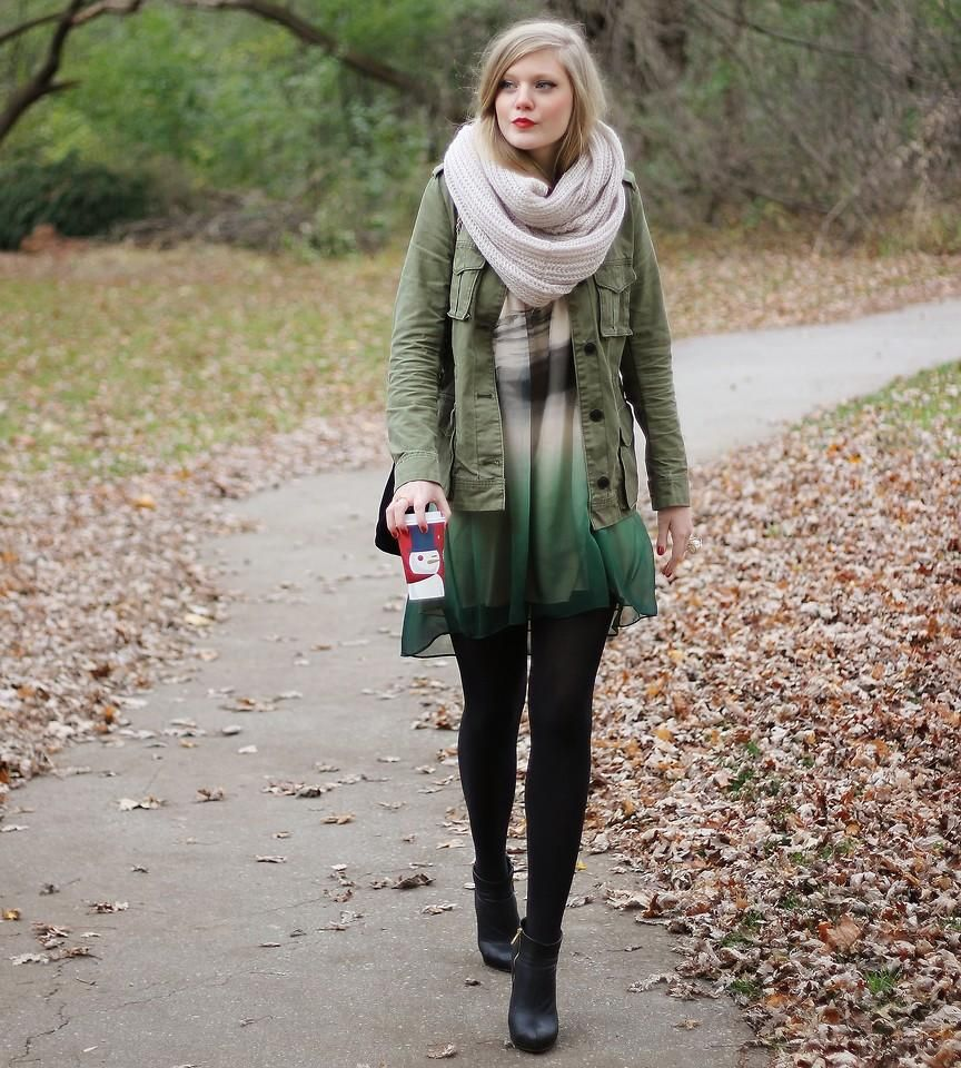 Shop this look on Kaleidoscope (jacket, scarf, dress, bootie)  http://kalei.do/WRZXpDJ0VgobB7cJ