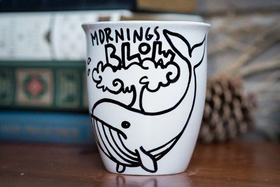Mornings Blow Ceramic Coffee Mug Coffee Cup Hand by HappyAbout