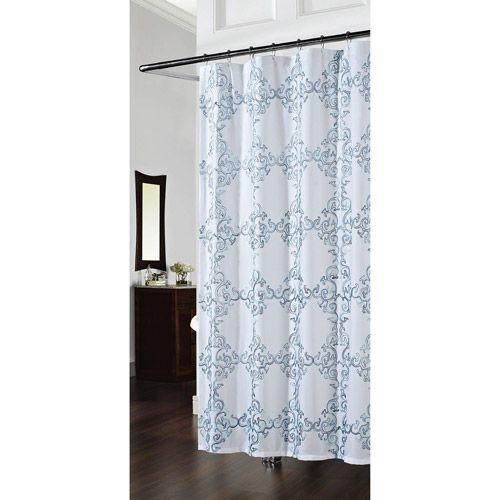 Medallion Shower Curtain Spa Blue Bath Walmart Com Curtains
