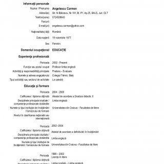 Curriculum Vitae Europass Informaii Personale Nume  Prenume