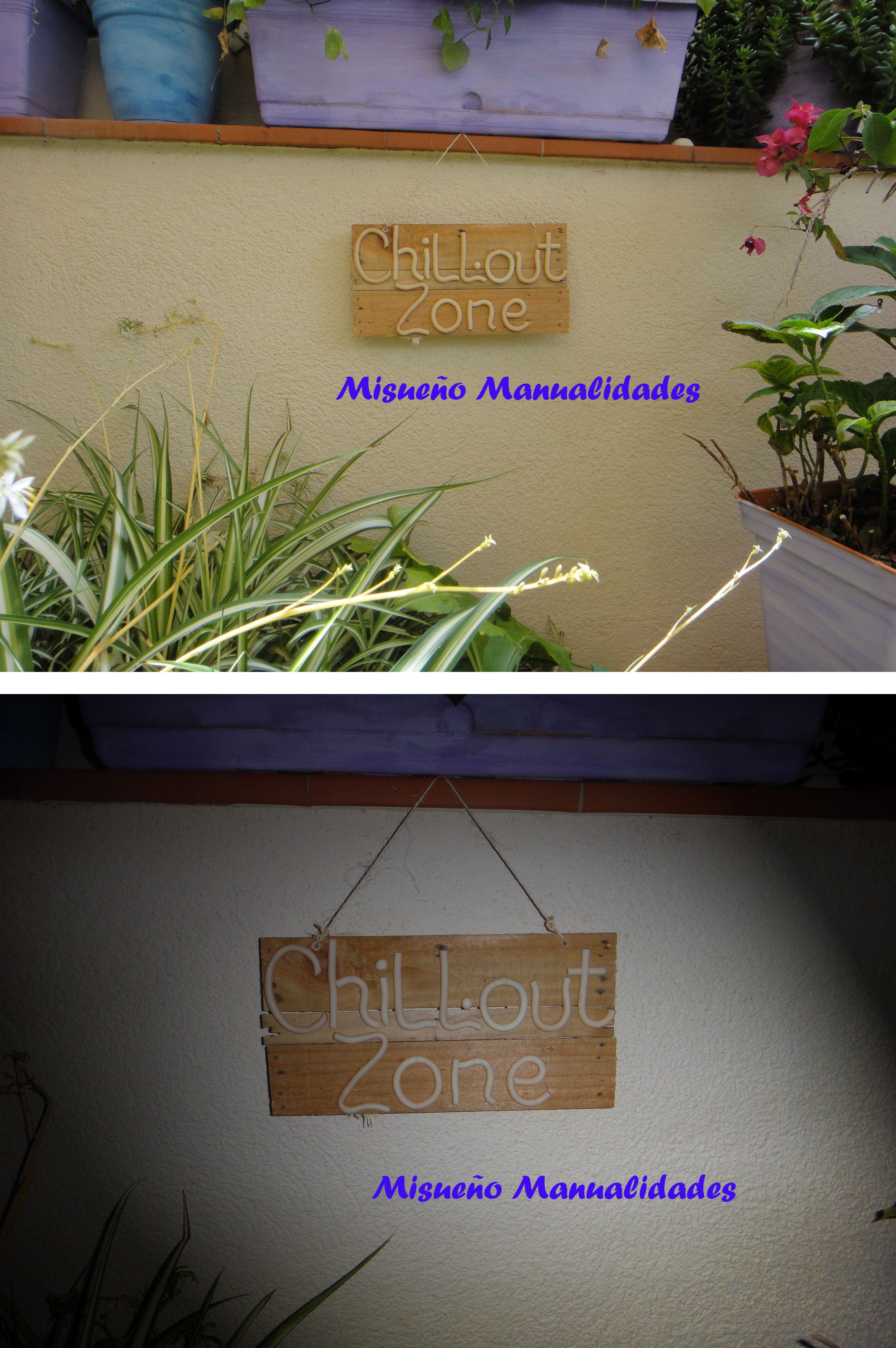 """Cartel """"homemade"""" para mi terracita El tablero está hecho de laterales de cajas de verdura; las letras de Fimo """"brilla en la oscuridad"""". Por lo tanto por la noche se iluminan las letras. www.misuenyo.com / www.misuenyo.es"""