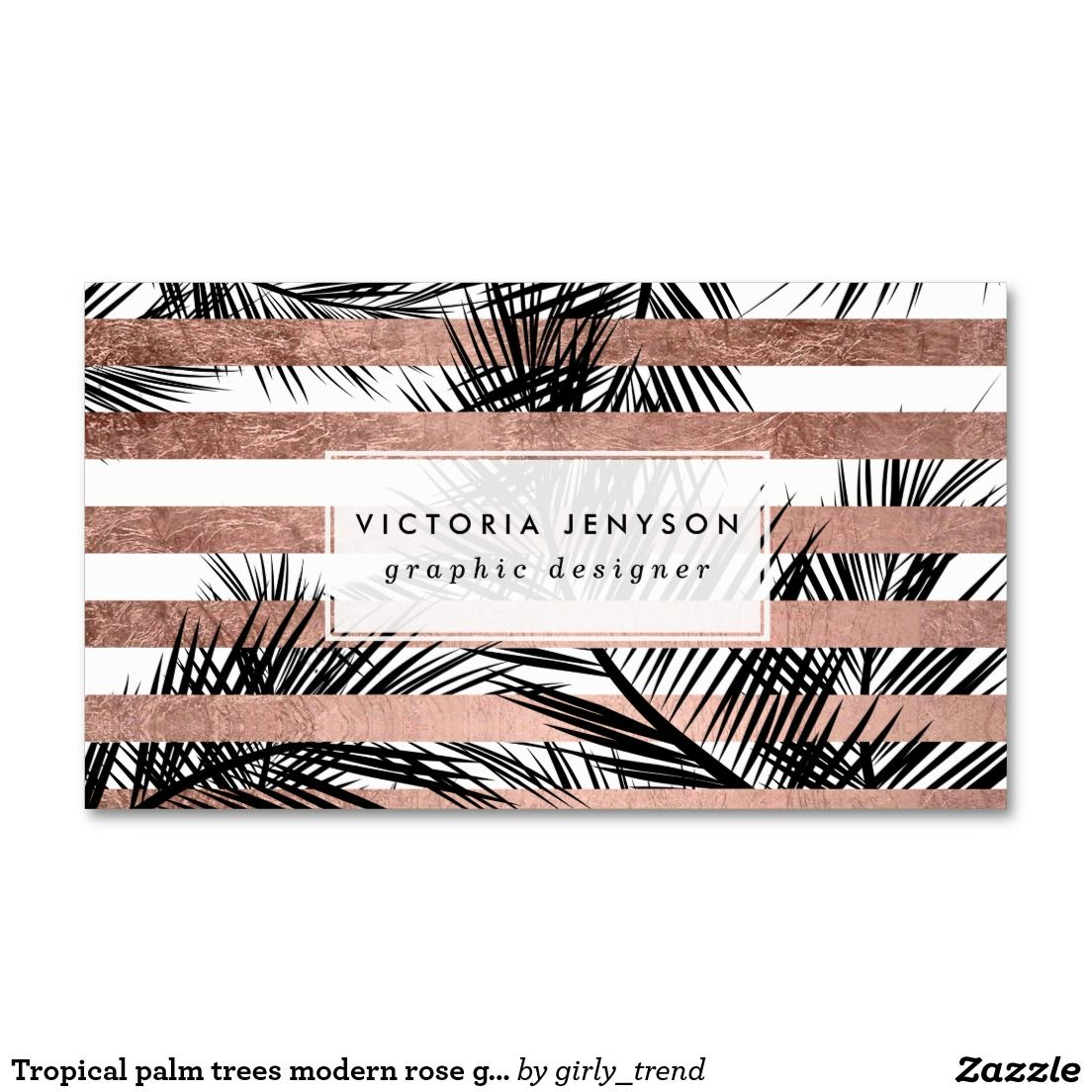 Premade business card design print ready business card template tropical palm trees modern rose gold stripes business card magicingreecefo Images