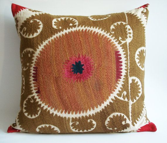 Sukan / Vintage Hand Embroidered Suzani Pillow Cover - 22x22 $119.95