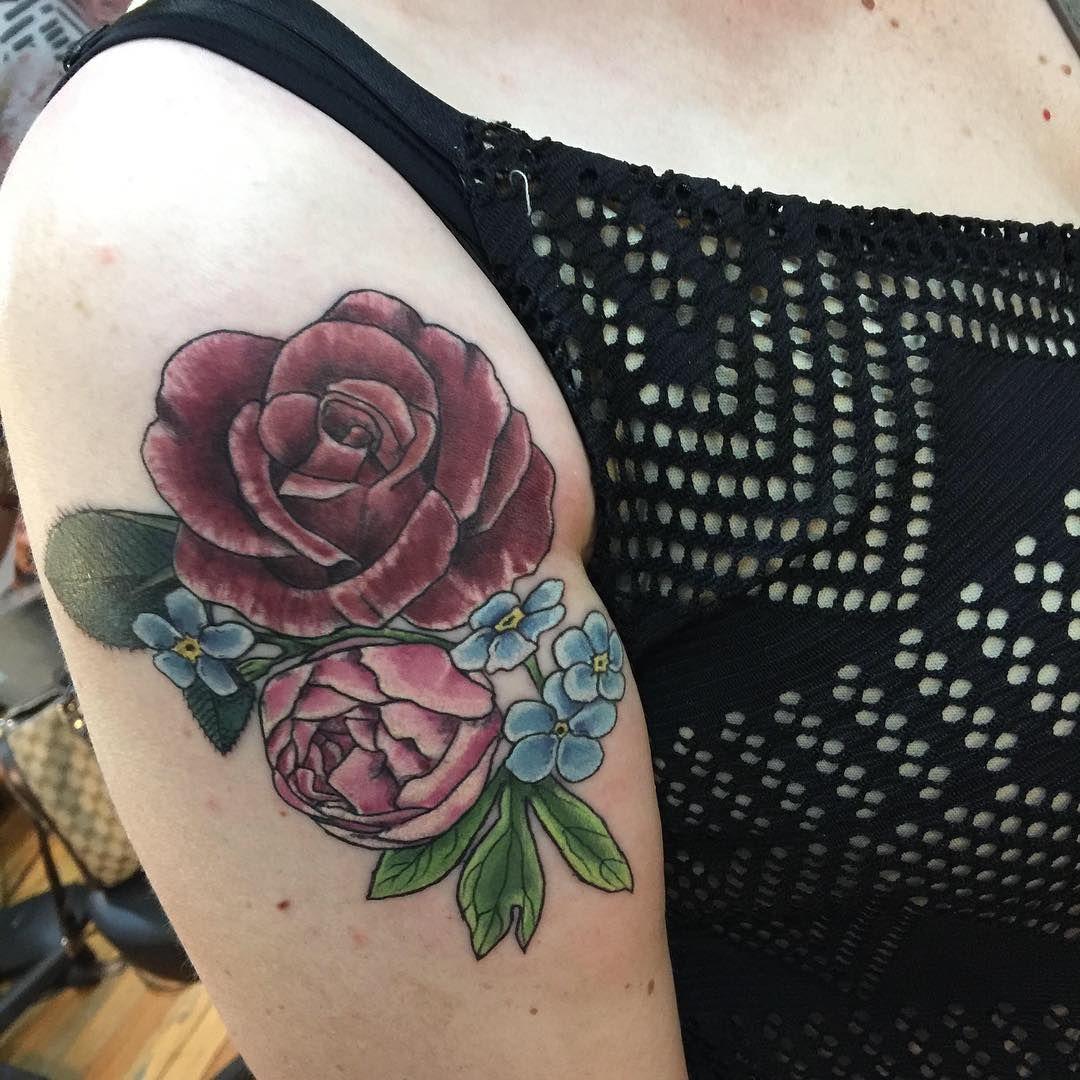 c90b164bd Shoulder tattoo by Jessie Langs-Hendricks at Alchemy Tattoo Collective in  St. Louis, #tattoos #flowers #stlouis
