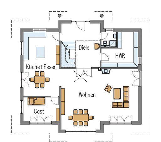 Grundriss erdgeschoss stadtvilla individuell von arge for Haus bauen plan
