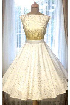 6ac8bc95d187 SUSAN Svatební šaty Retro zlaté puntíky šaty lodičkový výstřih tylová sukně  tyl Satén saténový pásek kolová