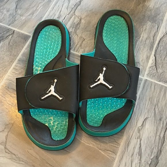 31a1d017ff46 Air Jordan slides Men s blue and teal air Jordan slides. I wore as a girl  and wear size 9 to 9.5 in women s and these fit me perfect. These are size  10.