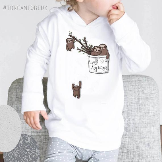 03c94d94 Sloth personalised Hoodie - baby shower gift, toddler hoodie, my first  hoodie, new baby gift, pocket sloth, Personalised top, baby sloth