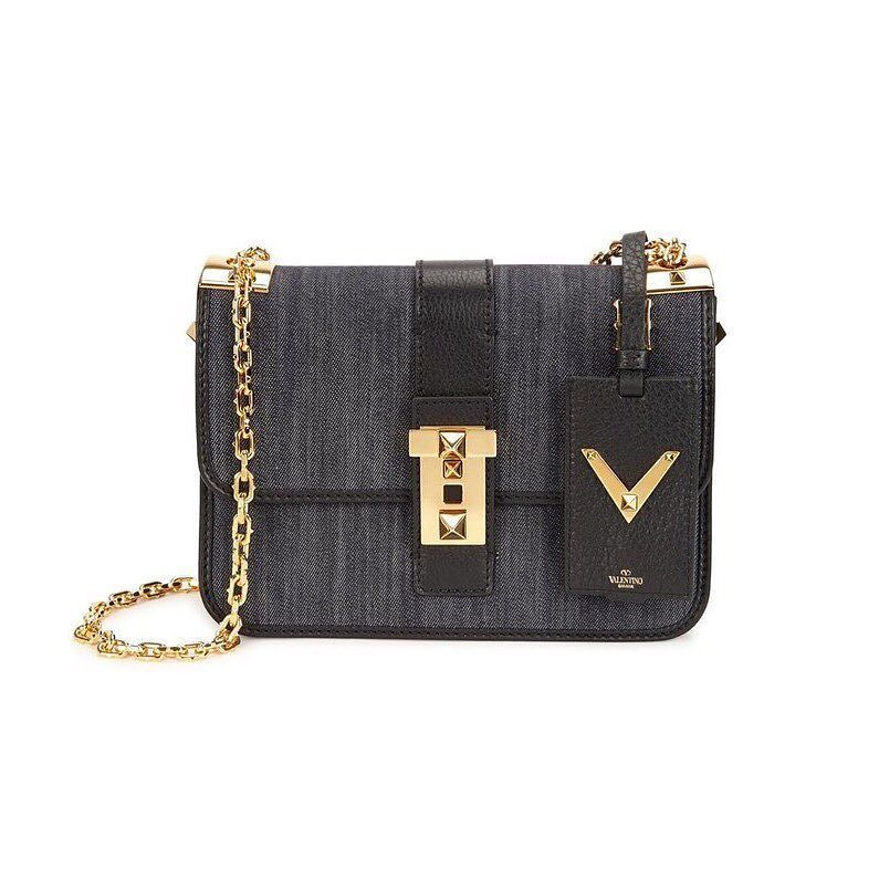"""valentino denim rockstud crossbody bag  measures 9.5 x 7 x 2.5 """"  brand new with dustbag  asking $1400  comment for more information or to purchase this item"""