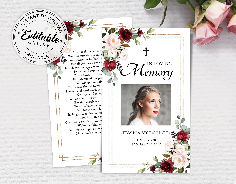 Etsy Editable Funeral Prayer Card Template Printable Memorial Prayer Card Template Funeral Prayer Card Catholic Mass Card Obituary Card Prayer Cards Funeral Prayers Prayer Cards For Funeral